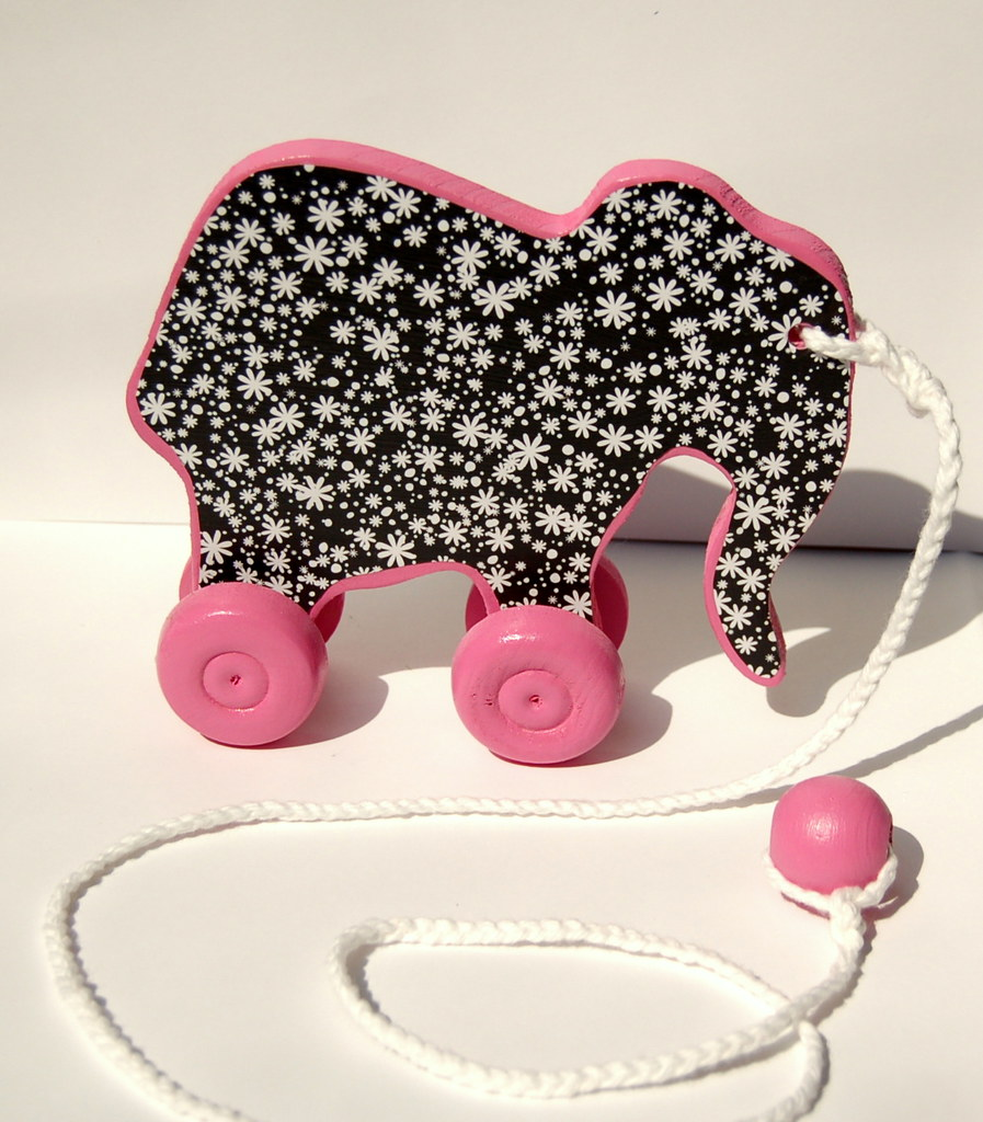 Elephant Pull Toy B&W Daisies on PINK!
