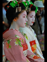 Maiko & Geisha (oliver_selwyn (view LARGE on black!)) Tags: bridge people floral beauty digital hair neck outdoors person photography japanese nikon stream release profile silk makeup pins maiko geiko ornament hana monks geisha dome carp ritual kimono gion d200 dslr shinto japaneseculture pontocho traditionalculture pilgrims maikosan shirakawa bira nape tsumami makino traditionalclothing kanzashi kushi kanoko tatsumi hanakanzashi geishaintraining kogai hojoe humanneck habutae hoseikai ohogo gi gettysubmission traditionalgeishamakeup
