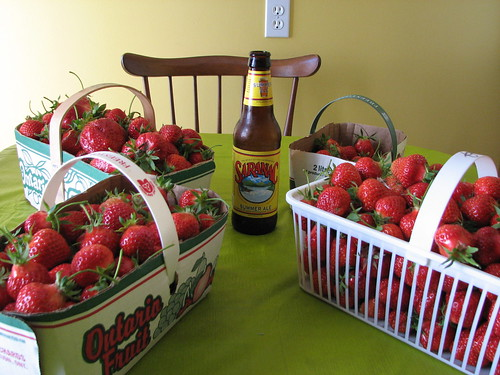 Strawberries and a Saranac Summer Ale