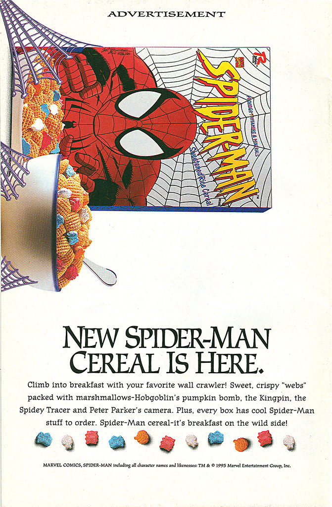 "Ralston Foods "" Spider-man Cereal "" :: "" New Spider-man Cereal Is Here. "" ..art by Sal Buscema & Scott Koblish (( 1995 ))"