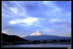 nEO_IMG_IMG_8134 (c0466art) Tags: trip blue light sky white mountain lake snow color reflection tree water japan clouds canon landscape scenery fuji april moring famouse