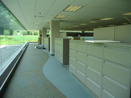 Huge filing cabinets facing the windows