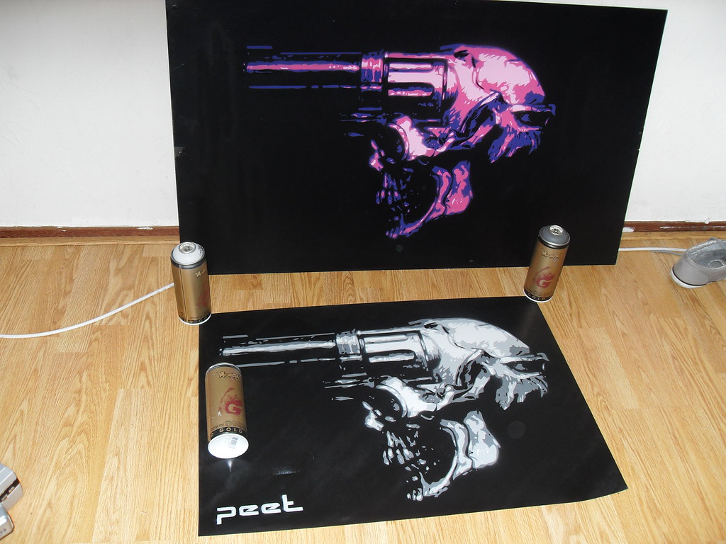 revolver skull stencils by peet FOR SALE