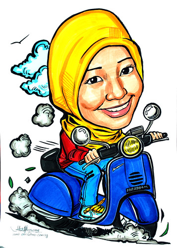 Caricature of a Vespa rider