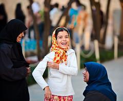 Happy girl at Hafez's tomb (damonlynch) Tags: girl persian women child iran muslim islam religion headscarf hijab shiraz iranian shiite hafezstomb