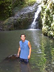 Nick wading in the pool at Maunawili Falls