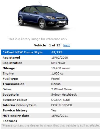 Ford used car product page