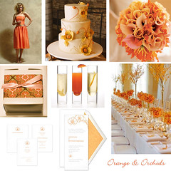 Wedding Wednesday - Orange & Orchid Wedding (Tastefully Entertaining) Tags: wedding orange orchid weddingcake cocktail bouquet favor invitations entertaining centerpieces bridesmaiddress tablesettings weddingwednesday tastefullyentertaining