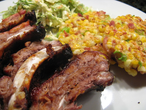 Hickory Smoked Ribs with Corn & Bacon Fritters