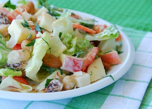 crunchy veg salad with lemon-tahini dressing