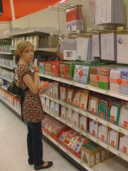 Mona checking out her Christmas cards at Target