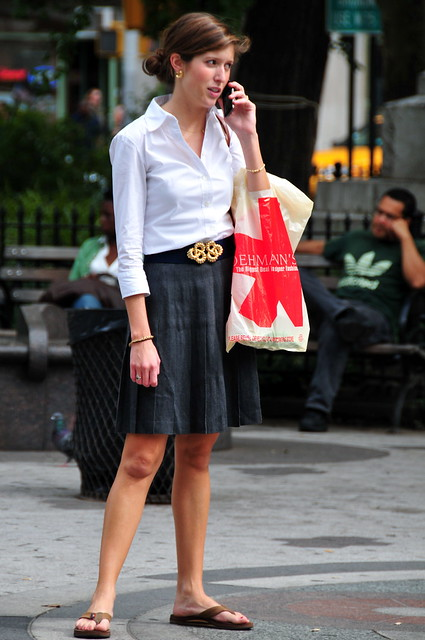 newyorkcity woman newyork sandals manhattan broadway skirt blouse bracelet hood peeps shoppingbag verdisquare loehmans