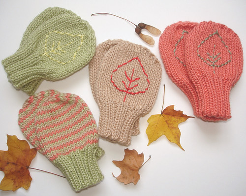 Falling Leaves Baby Mittens 048 by you.