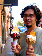 Marc with gelato, Rome, September 2008. Click the photo to see more pictures of Marc in the world.