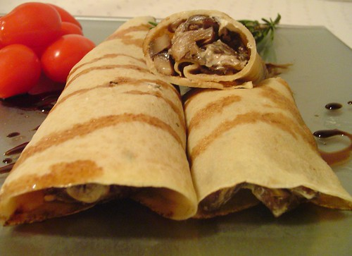 Mushroom And Spinach Crepes With Goat Cheese And Balsamic Drizzle ...
