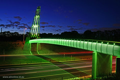Eastlink (Adam Dimech) Tags: bridge light sculpture art night evening twilight dusk overpass australia melbourne pedestrian victoria led freeway rocket tollway greet eastlink wantirna pedestrianoverpass seita mitchamfrankstonfreeway pumpsroad pumpscourt