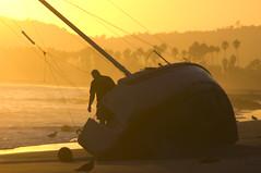 Down by the Water (Damian Gadal) Tags: california sunset beach silhouette santabarbara sailboat geotagged coast nikon october dusk nikond100 shore nautical d100 2008