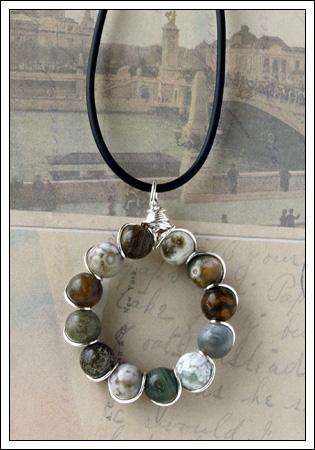 Ocean jasper & silver pendant
