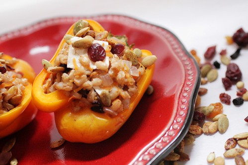 Pepper stuffed with barley and spices