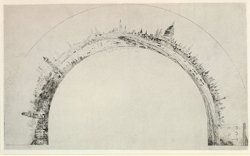 Panorama of London from Westminster to the Tower in a fan-shape, after the panaorama of Thomas Girtin. 1803 - Print made by François Louis Thomas Francia