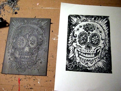 day of dead skull. Day of the Dead skull lino cut