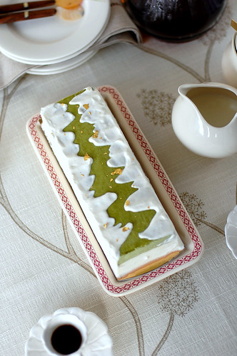 Matcha and Amaretto Chilled Cheesecake served with Crème Chantilly