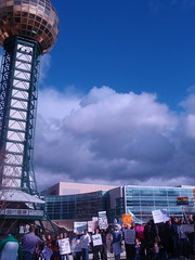 protestors and sunsphere