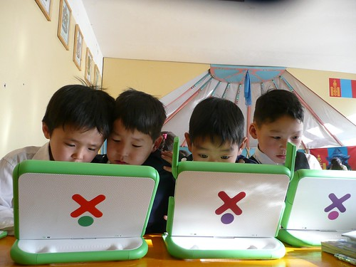 Students in Mongolia with OLPC laptops