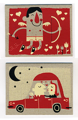 Valentines Day Silkscreen card set (tad carpenter) Tags: love poster silkscreen valentines tad cupid carpenter