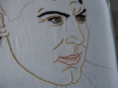 WIP - Do you know who I am? (Amanda Panda Pants) Tags: man embroidery handsome wip handstitched owndesign
