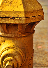 Solumn Duty (ewitsoe) Tags: seattle old urban yellow nikon barrels firehydrant chemical abrasion dekay d80