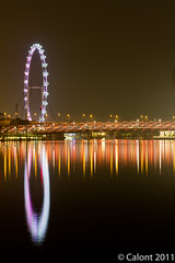 Singapore Flyer (Calont) Tags: bridge sky reflection night marina bay flyer singapore helix