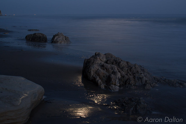 Rocks with Moon Shine and Ocean