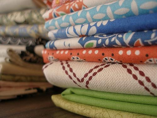 workroom fabric stack
