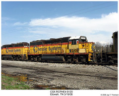 CSX RCPHE4 9120 (Robert W. Thomson) Tags: railroad train diesel tennessee railway trains co locomotive trainengine remotecontrol chessie csx geep drone etowah emd gp40 chessiesystem fouraxle rcphe4