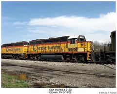 CSX RCPHE4 9120 (Robert W. Thomson) Tags: railroad train diesel tennessee railway trains co locomotive trainengine remotecontrol chessie csx geep drone etowah emd gp40 chessiesystem fouraxle rcphe4
