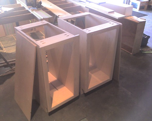 A couple more completed base cabinets.  The one on the left will have two dividers and is for cookie sheets and the like.