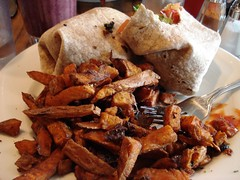 Urban wrap with sweet potato fries