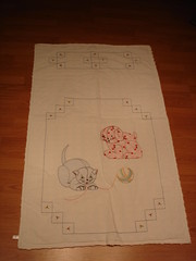 Vintage 30's quilt with applique & embroidery