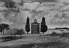Vitaleta chapel  #1,  Cappella di Vitaleta Tuscan (fabio c. favaloro) Tags: sky blackandwhite bw italy church clouds landscape nikon chapel bn tuscany nikkor toscana valdorcia 2008 biancoenero tuscan d300 blueribbonwinner vitaleta supershot 80200f28 nikonphotography 80200mmf28dnew allrightsreserved overtheexcellence nikond300 fabiocfavaloro 80200f28afed theemptyplaces