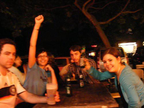 Cerveceándose tras el partido