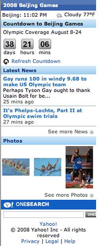 Yahoo Olympics mobile