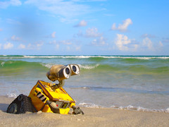 in search of eve (tini21) Tags: sky beach water clouds movie toy sand waves pensacolabeach walle explored searchingforeve adventureswithwalle