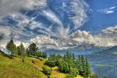 View from Tatz (christianmeichtry) Tags: trees alps clouds alpes landscape switzerland europe suisse valley chalet alp wallis hdr valais photomatix tatz aplusphoto