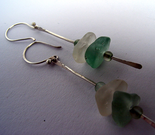 White and aqua sea glass stacker earrings