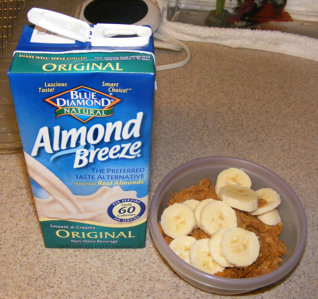 part of breakfast - Special K Protein Plus, a half banana, and almond milk
