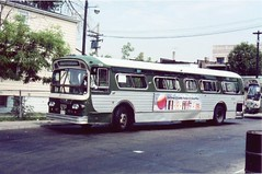 Mid 1960's vintage CTA Flxible bus at West 63rd Place and South Kedzie Avenue terminal loop. Chicago Illinois. July 1985.