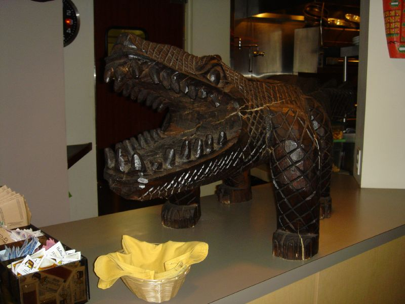 Crocodile carving