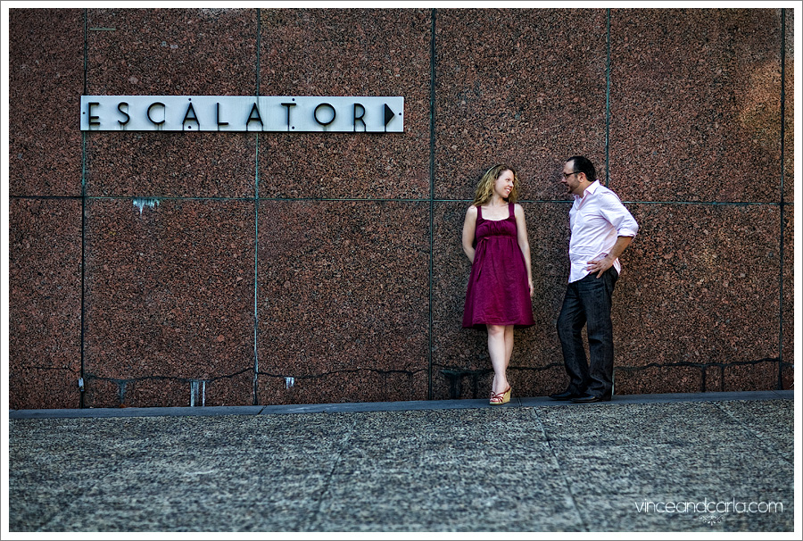 escalator los angeles county municipal court bunker hill downtown la e session engagement photo shoot wedding escalator