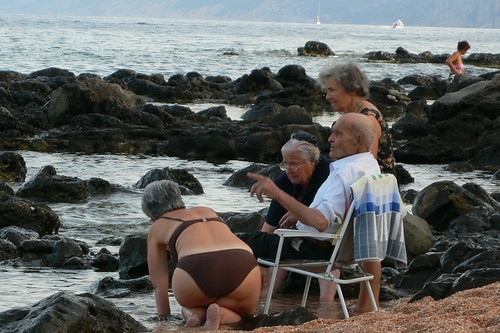 Old folk enjoying the beach